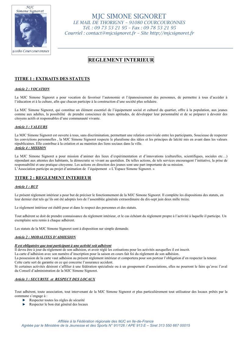 Espace simone signoret l 39 association r glement int rieur for Reglement interieur association pdf